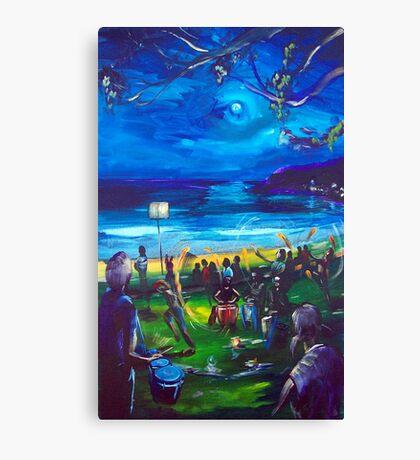 Drummers and firetwirlers- Terrigal Beach Canvas Print