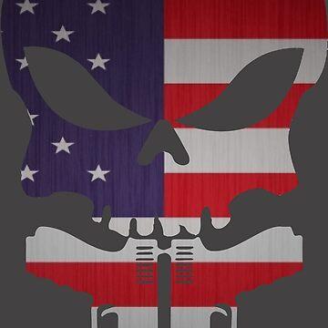 American Flag Skull and Guns by FayeLangoulant