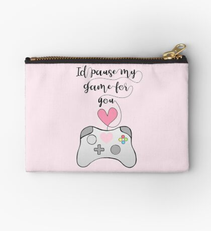 Gamer Anniversary - Pause my Game for you - gaming - girlfriend - boyfriend - wife - husband - partner - gaming couple - games - pun Zipper Pouch