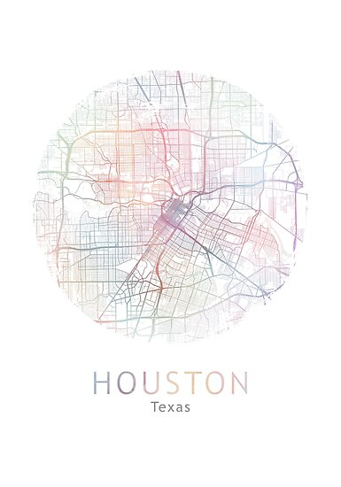 Houston Map Usa City Texas Travel Traveler Gift Posters By