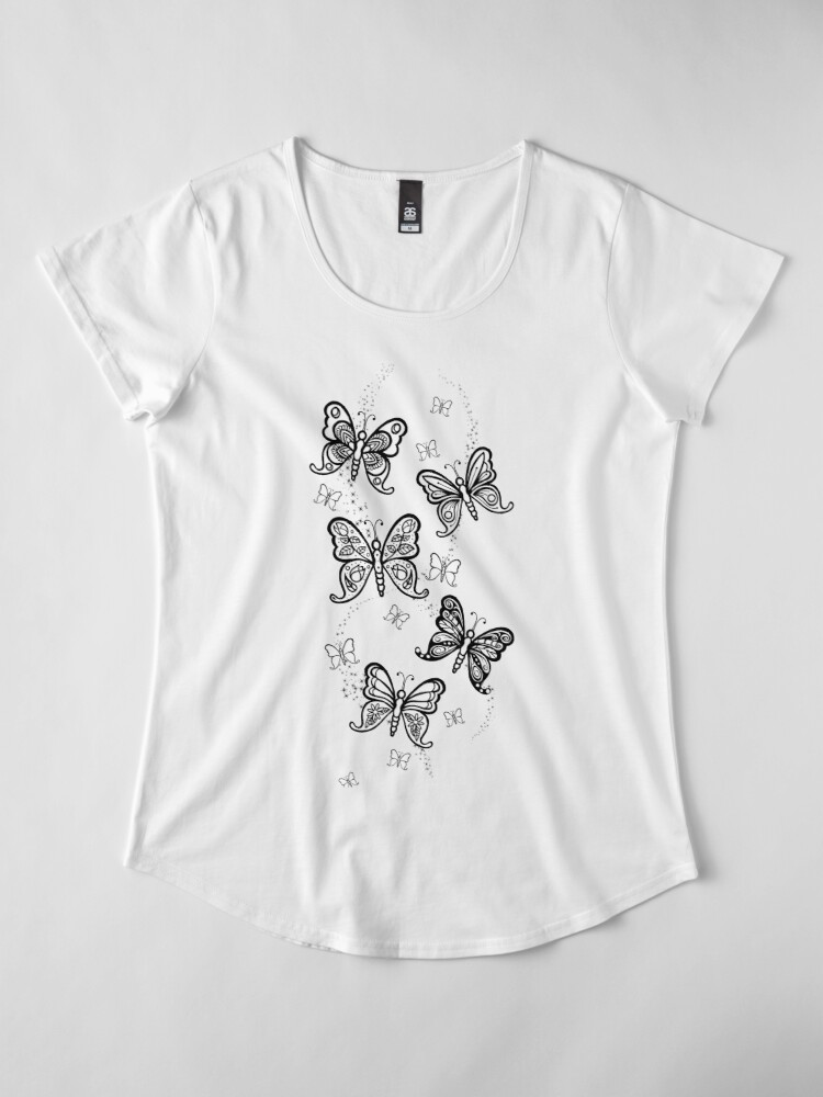 Alternate view of Just Add Colour -Butterfly Sparkle Premium Scoop T-Shirt