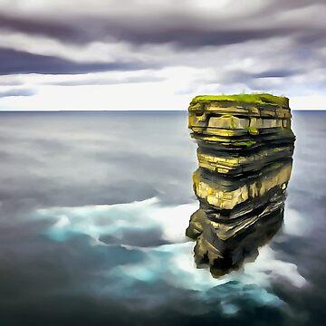 Downpatrick Head, Ireland. (Painting.) by cmphotographs