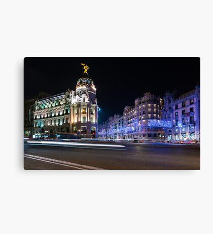 Metropolis - Madrid Christmas Lights Canvas Print