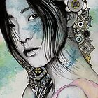 Stoic (asian girl street art portrait with mandala doodles) by kiss-my-art