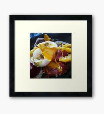 Poached egg on bresaola and orange supremes Framed Print