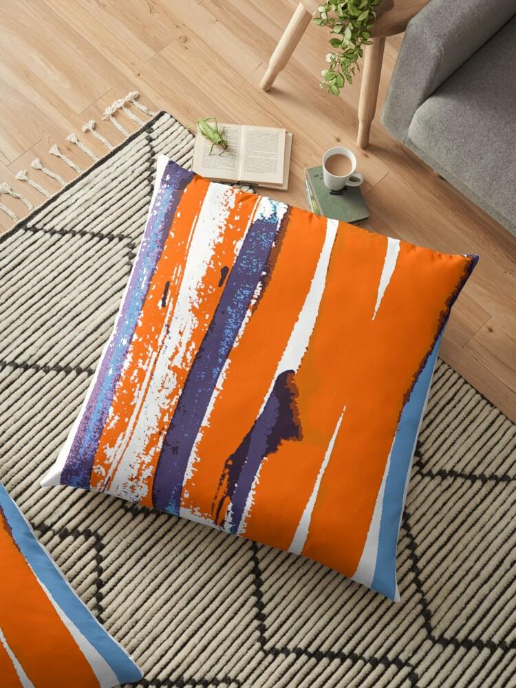 Retro art breite linien orange lilac  von RanitasArt