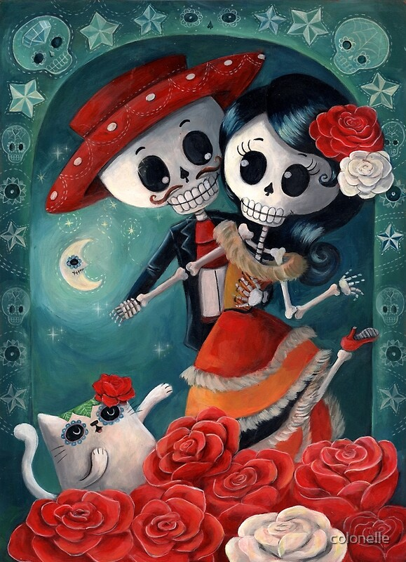 Quot Dia De Los Muertos Couple Of Skeleton Lovers Quot Posters By