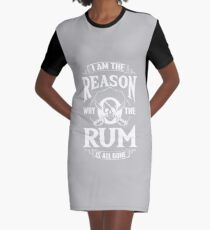 Rum Pirate Alcohol Beer Party Captain Drink Gift Graphic T-Shirt Dress