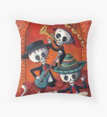 Dia de Los Muertos Skeleton Musicans Throw Pillow