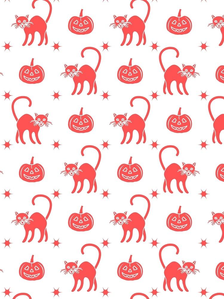 Halloween 2019 seamless pattern. Pumpkins, cats. by aquamarine-p