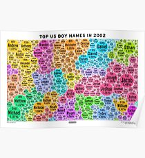 Top US Boy Names in 2002 - White Poster