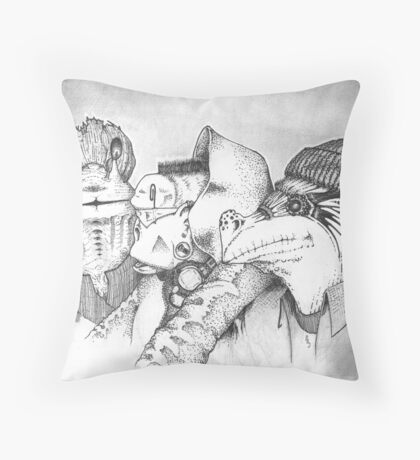 Three Gentlemen Throw Pillow