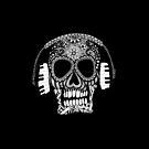 Tangled Skull Wearing Headphones by julieerindesign