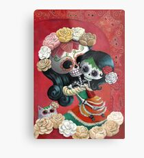 Mexican Skeletons Mother and Daughter Metal Print