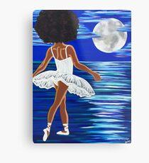 """Walking on Water"" Schwarze Ballerina Kunstdruck schwarze Kunst schwarze Mädchenmagie Afro zentrierte afroamerikanische Kunst Metallbild"