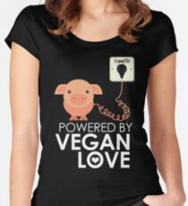 VeganChic ~ Powered By Vegan Love Women's Fitted Scoop T-Shirt