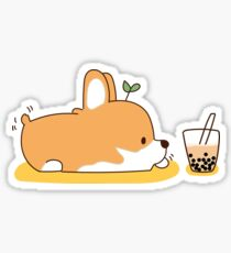 Corgi und Bubble Tea Sticker