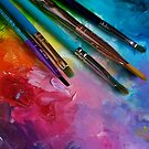 Rainbow Art Palette with Brushes by Erica Kilbourn