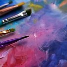 Purple Art Palette with Brushes  by Erica Kilbourn