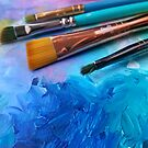 Blue Art Palette with Brushes  by Erica Kilbourn