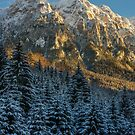 Mountains with snow in the sunset by naturalis