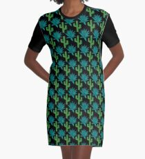 Cactus & Agave Pattern - Dark Graphic T-Shirt Dress