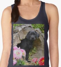 Lab puppy playing hide and seek Women's Tank Top