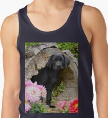 Lab puppy playing hide and seek Tank Top