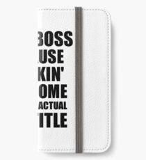 Lady Boss Freaking Awesome Funny Gift Idea for Coworker Employee Office Gag Job Title Joke iPhone Flip-Case/Hülle/Skin