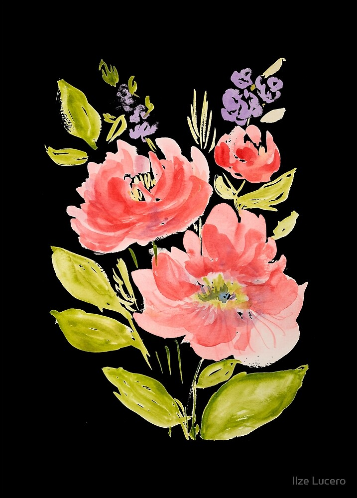 «Ramo hermoso de la flor de la acuarela en fondo negro» de Ilze Lucero
