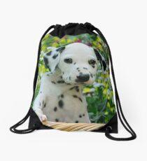 Hey, I`m a Dalmatian puppy Drawstring Bag