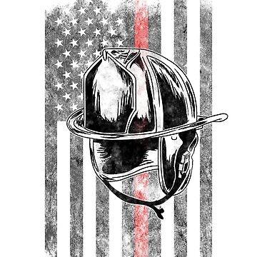 Firefighter helmet American Flag Thin Red Line Firefighter Shirt by we1000