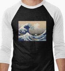 """Die große Welle vor Kanagawa"" von Katsushika Hokusai (Reproduktion) Baseballshirt mit 3/4-Arm"