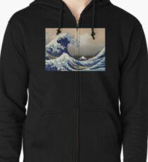 """""""Die große Welle vor Kanagawa"""" von Katsushika Hokusai (Reproduktion) Hoodie mit Reißverschluss"""