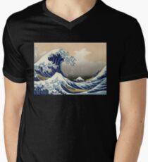 'The Great Wave Off Kanagawa' by Katsushika Hokusai (Reproduction) V-Neck T-Shirt