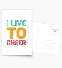 Cheerleading Gift - I live To Cheer - Cheerleader  Postcards