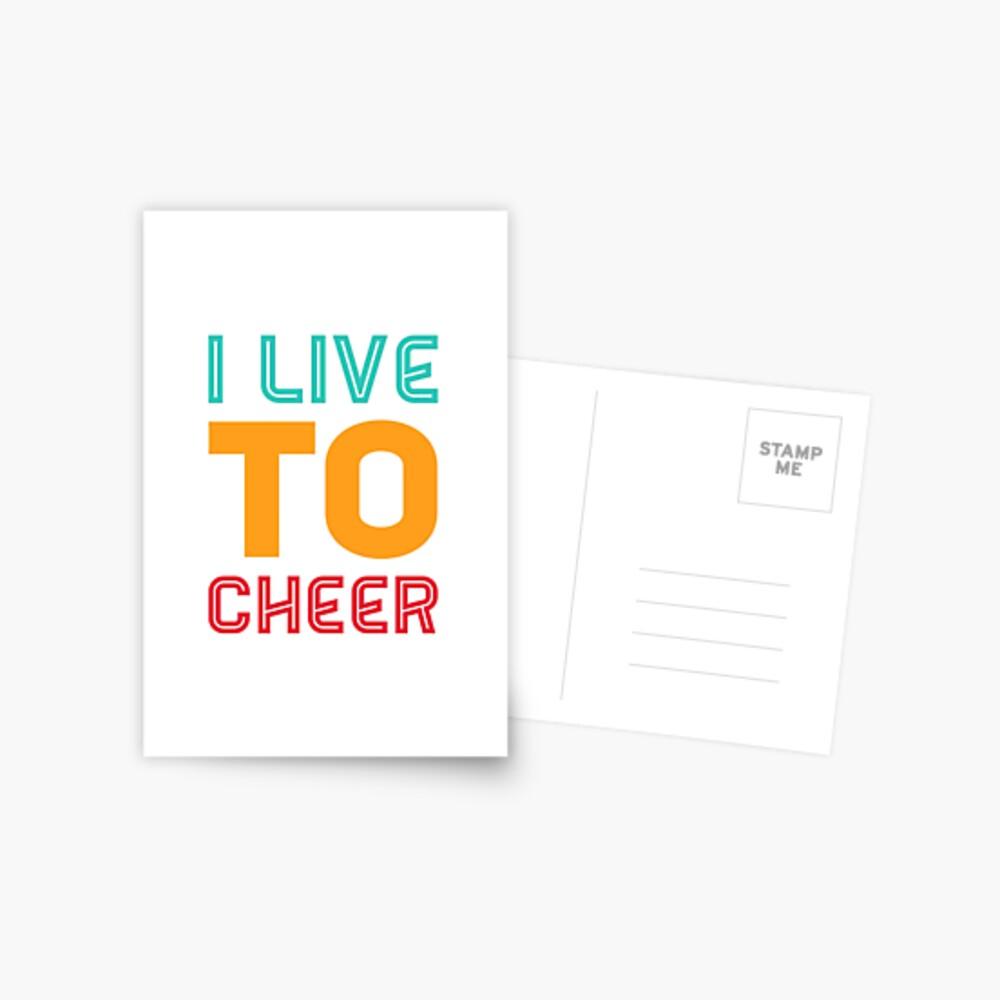 Cheerleading Gift - I live To Cheer - Cheerleader  Postcard