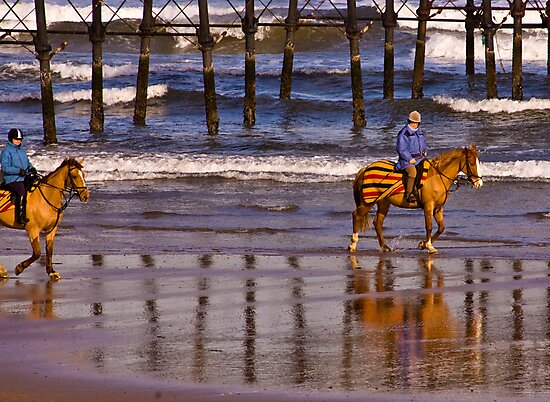 Ride Along The Beach - Saltburn by Trevor Kersley