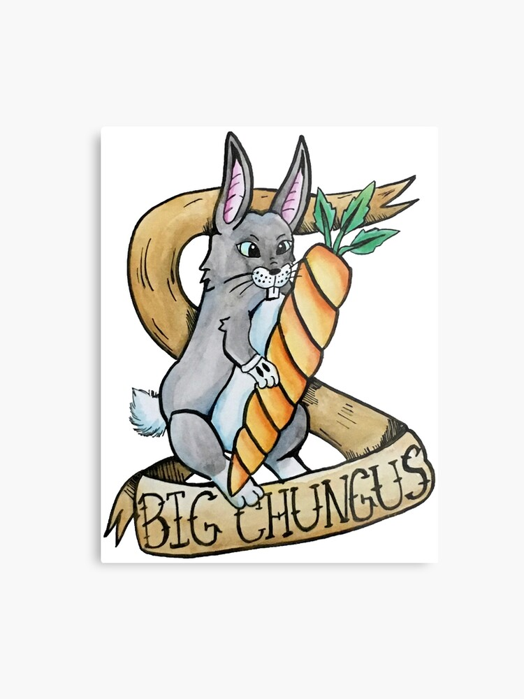 Big Chungus Traditonal Meme Tattoo Watercolor Metal Print By