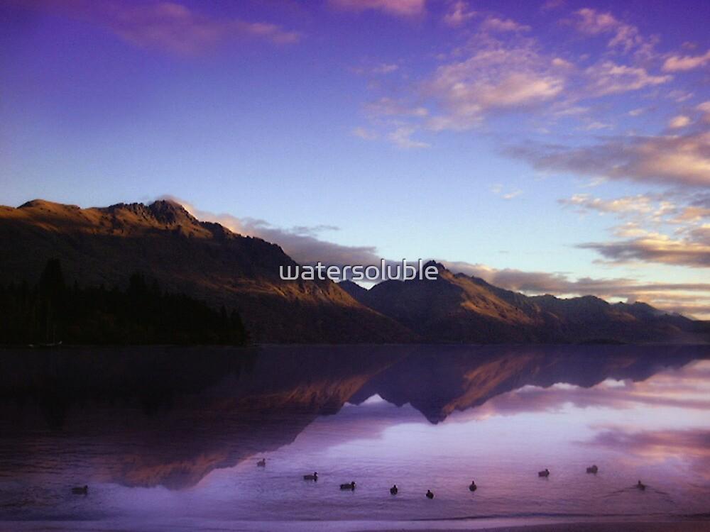 lake wakatipu at sunset by watersoluble