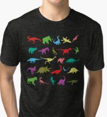 Colorful Mini Dinosaur  Tri-blend T-Shirt