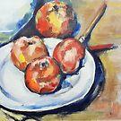 Vier Äpfel und ein Messer Cezanne Interpretation von Christel  Roelandt