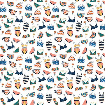 Bikini Swimsuit Doodle Pattern by junkydotcom