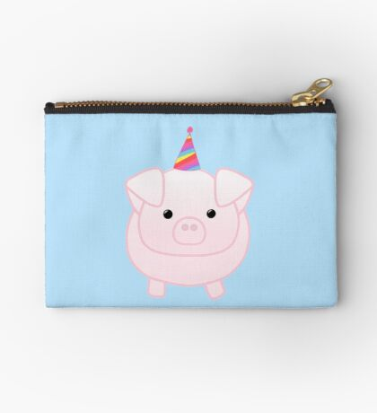 PIG Birthday - Happig birthday - Pun - Party - Gift - Present - Party Pig - Hog - Cute - Fun  Zipper Pouch
