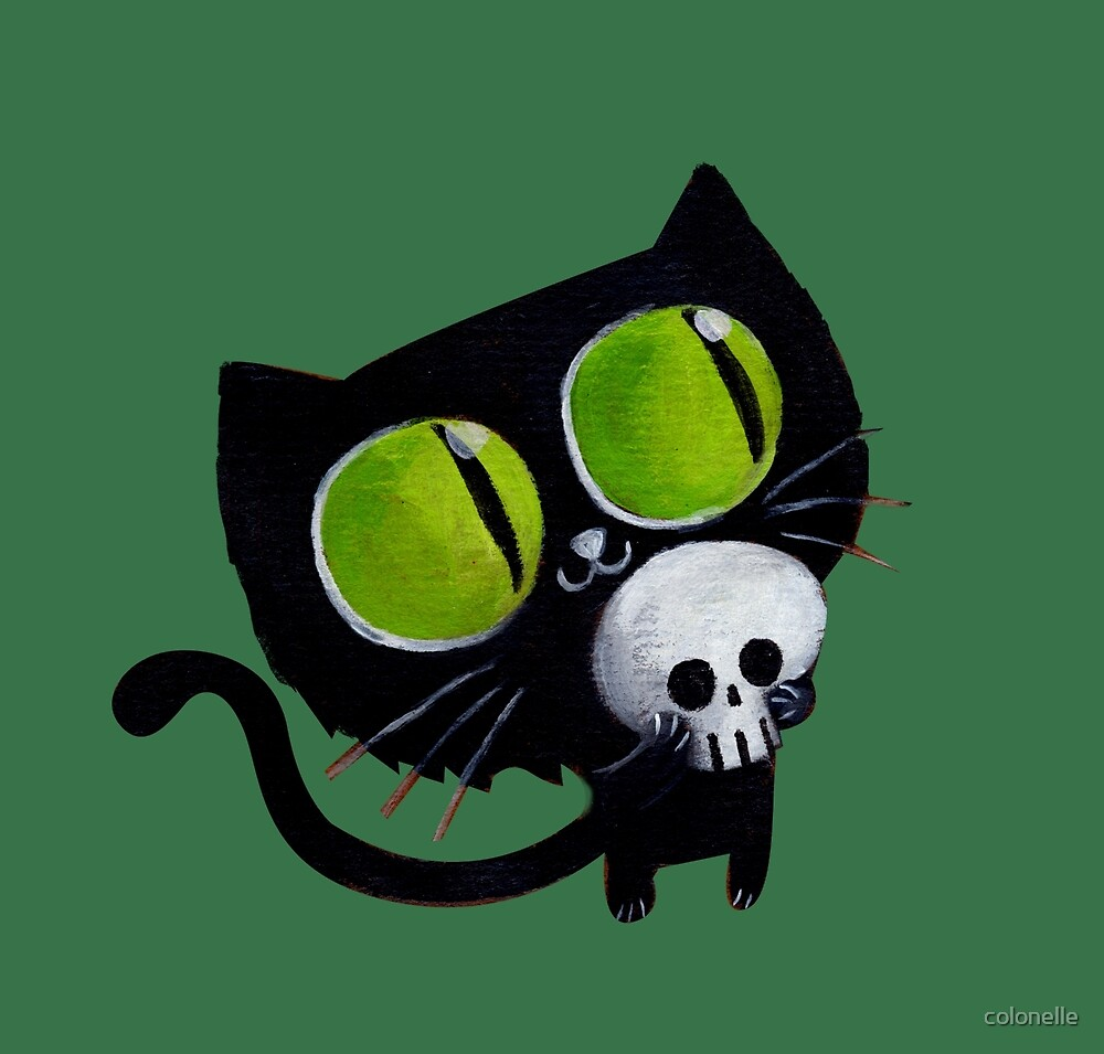 Black Halloween Cat with Skull by colonelle