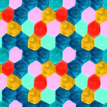 Multicoloured Hexagonal Cell Pattern by Grathicks