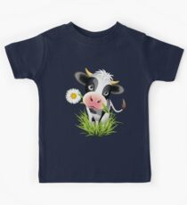 Cute cow with pretty eyes Kids Tee
