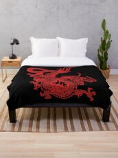 Red Chinese Dragon Throw Blanket