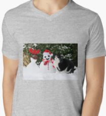 Cat by the side of Santa snowman T-Shirt