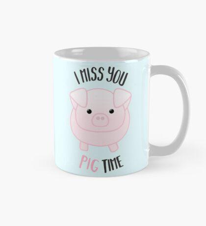 I miss you PIG time - Pig Pun - Cute pig - Pig Gifts - Miss you card - Hog - Adorable - Pink - Blue Mug